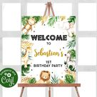 Editable Safari Welcome Sign Gold Safari Jungle Birthday Welcome Sign Animal Safari Party Table Decorations Instant Download Sign 25