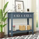 Red Barrel Studio® Console Table Wood in Blue, Size 30.0 H x 13.8 W x 35.4 D in | Wayfair