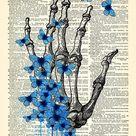Skeleton Hand Art Blue Butterflies Art Print Skeleton Poster Gothic Skull Artwork, Anatomy Wall Decor Skeleton Wall Decal Cool Art Decor 627