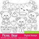 Picnic Bear  Digital stamps | Etsy
