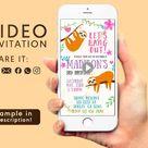 Sloth Video Invitation Birthday, Sloths Birthday Party, Invitation Sloth Video, Sloth Video Invite, Sloth Relax Invitation