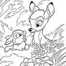 Bambi coloring pages with rabbit for kids, printable free
