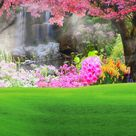 Spring Flowers Green Grass  Backdrop for Photography CM-HG-293-E