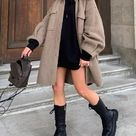 Dropped shoulder lantern sleeve pocket coat plus size brown-2XL