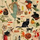 Halloween Witches Printable Elements Witches, Black Cats, Toads, Cauldrons and other Witchery