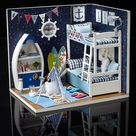 Cute Room Wooden DIY Handmade Assemble Miniature Doll House Kit Toy with LED Light Dust Cover for Gift Collection