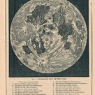 1886 Map of the Moon - Printable Moon Map - Downloadable Map of Moon - Antique Lunar Map - Antique Map of Moon - 1800s Moon Map