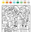Ausmalbild Malen nach Zahlen: Pferd auf der Koppel ausmalen kostenlos ausdrucken