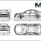 Audi RS6 2002   2D drawing blueprints   22685   Model COPY   English