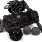 321 STRONG 5 in 1 Foam Roller Set Includes Hollow Core Massage Roller with End Caps - Bold Black