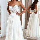 Strapless A line Beach Wedding Dress, Fashion Custom Made Bridal Dress