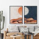 DIGITAL Bedroom Decor Sun and Moon Mid Century Modern   Etsy