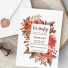 Fall Floral Baby Shower Invite Customizable Instant | Etsy