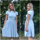Ready to Ship   Linen dress   traditional classic modest style peter pan collar   summer midi skirt    bohemian chic   sample sale JUNE