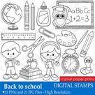 Back to school - Digital Stamps - Clipart line art
