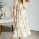 Buttoned Floral Tiered Maxi Dress - M