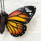 Orange & Black Butterfly Home Garden Wall Art Plaque 24cm