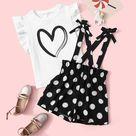 Girls Ruffle Armhole Heart Print Top & Polka Dot Suspender Shorts Set - 6Y