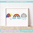Primary Rainy Day Trio PNG Design