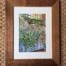 Original watercolour,Sissinghurst pond scene,Sissinghurst Kent,all art,by Sally Kirk