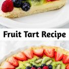 Fruit Tart Recipe - Each bite of this fresh fruit tart is a mix of crumbly sweet crust, smooth and decadent custard and juicy fresh berries! This fruit tart recipe is the perfect refreshing treat for warmer weather! #fruittart #easy #recipe #crust #custard #filling #mini #berry #dessert