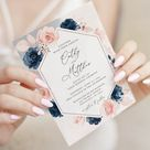 Navy Blue and Blush Pink Wedding Invitation Template and RSVP card, Wedding Invite Templates * INSTANT DOWNLOAD * Editable Templates, A120