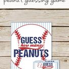 Guess How Many Peanuts Game - Baseball Baby Shower Peanut Guessing Game - Baseball Birthday - INSTANT DOWNLOAD - Baseball Peanut Game