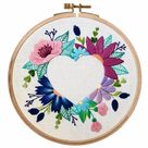 Hand Embroidery Pattern | Floral Heart Negative Space | Digital Download PDF + Video Tutorials and Detailed Instructions for Beginners