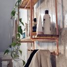 Tall 2 shelf copper pipe and reclaimed wood unit with coat   Etsy
