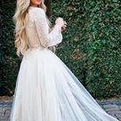 Long Sleeves Lace Jewel Neck Modest Cheap Wedding Dresses Online, Cheap Unique Bridal Dresses, WD598