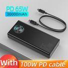 65W Portable Charging Power Bank - 30000mAh Black / 30000mAh