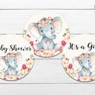 Elephant Baby Shower Cupcake Topper, Pink Floral Elephant Toppers, Girl, Rustic Baby Shower Theme,  Printable Party Toppers BSL 87