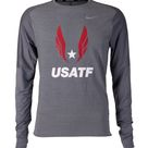 Nike USATF Men's Element Long Sleeve Crew Tee - X-Large