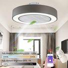Plafondventilator met ledverlichting, plafondlamp met fan, dimbaar met afstandsbediening, instelbare snelheid, 72 watt, modern, creatief, ultra-stil, voor woon- of slaapkamer, diameter 55 cm