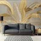 Mural Wallpaper Wall Sticker Covering Print Peel and Stick Removable Tropical Palm Leaf Canvas Home Décor 2021 - US $19.71