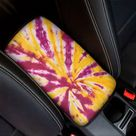 Red And Yellow Spider Tie Dye Print Car Center Console Cover