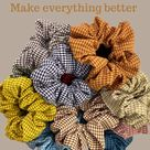 100% cotton, gingham scrunchies, flannel print, fluffy scrunchie, thick scrunchie, durable scrunchie