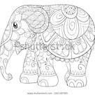 Adult Coloring Pagebook Cute Elephant Relaxing stockvector (rechtenvrij) 1021187593