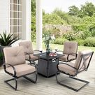 Red Barrel Studio® Delmas 5 Piece Multiple Chairs Seating Group w/ Cushions Wicker/Rattan in Black   Wayfair