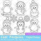 Cool Penguins  Digital Stamps  Digital download | Etsy