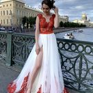 Red wedding dress with a slit on the leg Red lace Open back bridal dress V neck wedding gown Custom