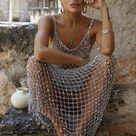 See through sexy beach mesh fishnet dress crochet cover up sequined erotic stripper gipsy boho grey silver metallic