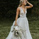 Ivory A line V neck Tulle Wedding Dresses Bridal Gowns With Appliques, SW360   US2 / Custom Color