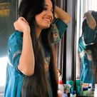 Beautiful pakistani girl straight black hair in cyan salwar kameez