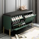 Contemporary Upholstered Shoe Rack PU Leather Bench in Green