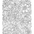Coloring Poster: Flowers & Leafs Design Coloring Art, 56x44in.