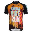 Swim Bike Run Orange Summer Cycling Jersey - Orange / M