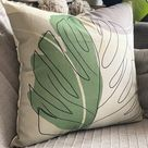 Green Tropical Print Cushion, Palm Leaves Pillow Cover, Organic Cotton, Made In Uk, Decorative Cushion, Floral Print Pillow Case, Square
