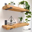 Rustic Shelves Handcrafted Using Solid Wood & Industrial Metal Shelf Brackets   22cm Depth x 5cm Thickness   Ben Simpson Furniture