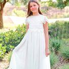 Ivory Lace flower girl dress, Bohemian Boho Flower girl, Ivory Tulle Girls Dress, Lace flower girl dress, Communion dress, Baptism Dress